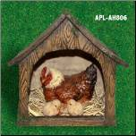 Lighted Chicken Coup with Mother Hen & Baby Chicks (APL-ah806)